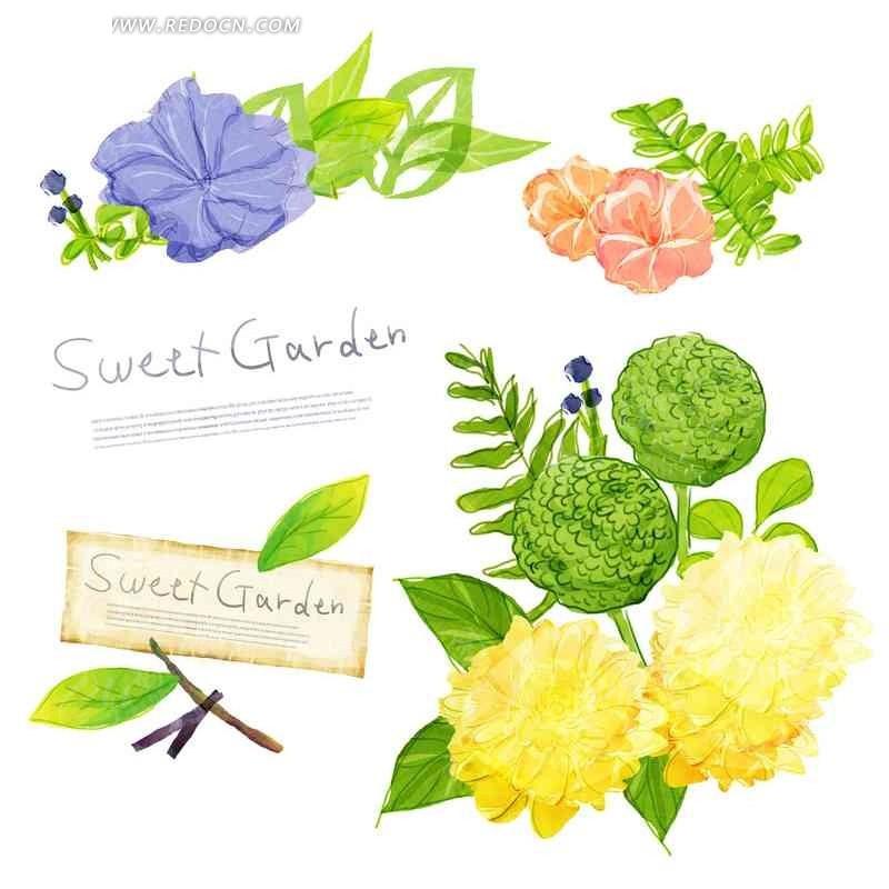 手绘精美彩色抽象花卉合集