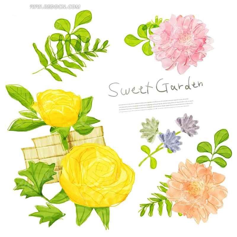 创意插画花瓣绿色叶子植物