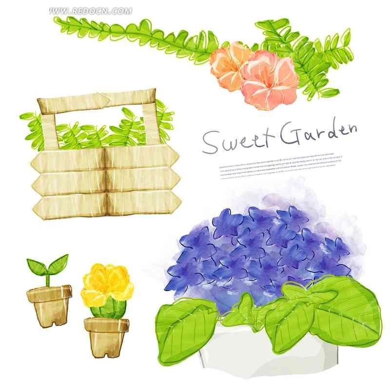 创意花朵绿色叶子盆栽手绘插画