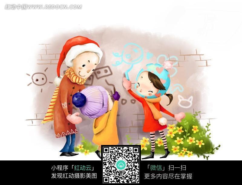 免费素材 图片素材 漫画插画 其他 手绘戴着圣诞雪帽涂鸦的一家人  请