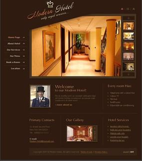 酒店住宿欧美网页模板源码