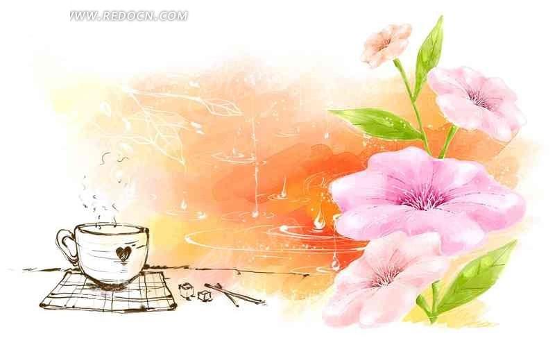 手绘花朵和咖啡杯psd素材