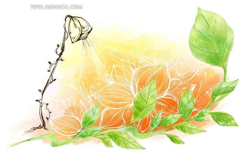 手绘绿叶和花朵psd素材