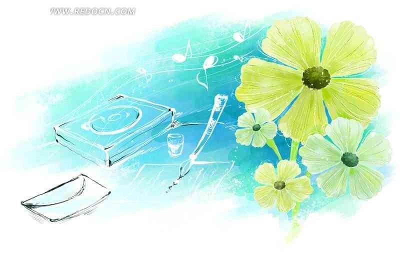 手绘绿色花朵psd素材