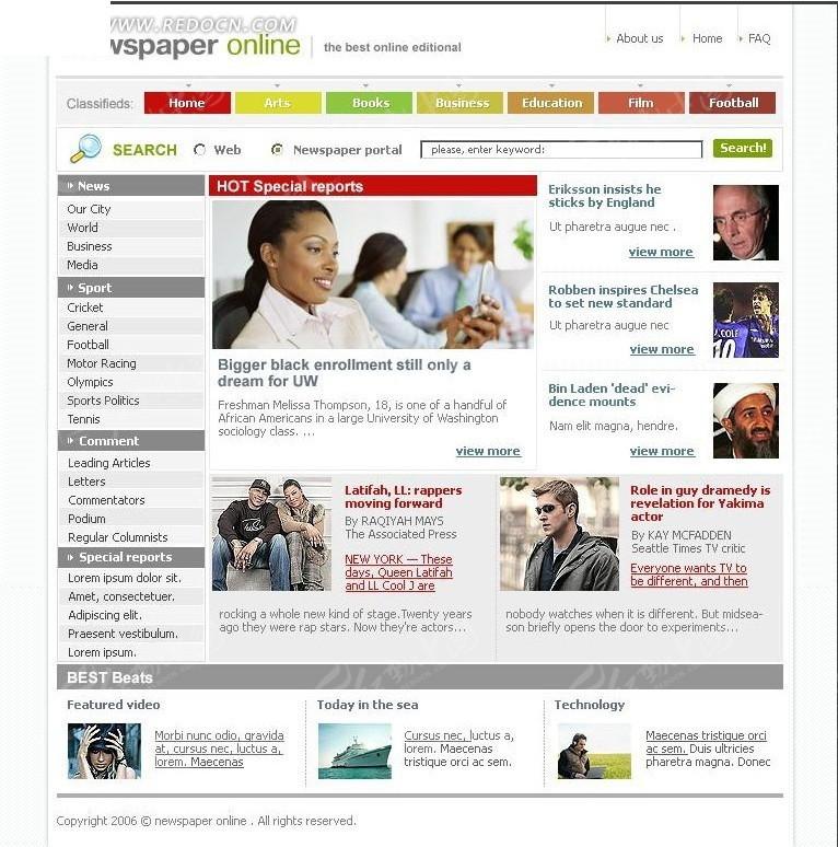 新闻报纸在线网站首页源码图片