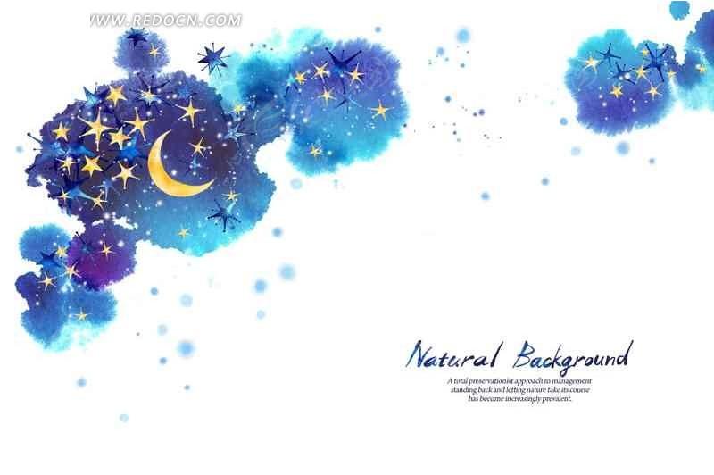 手绘星星月亮背景素材