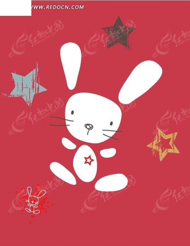 手绘星星兔子卡通图案矢量图