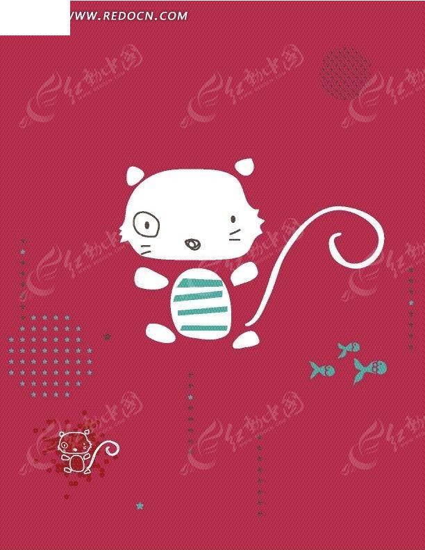 免费素材 矢量素材 花纹边框 花纹花边 手绘渔场卡通小猫图案  请您分