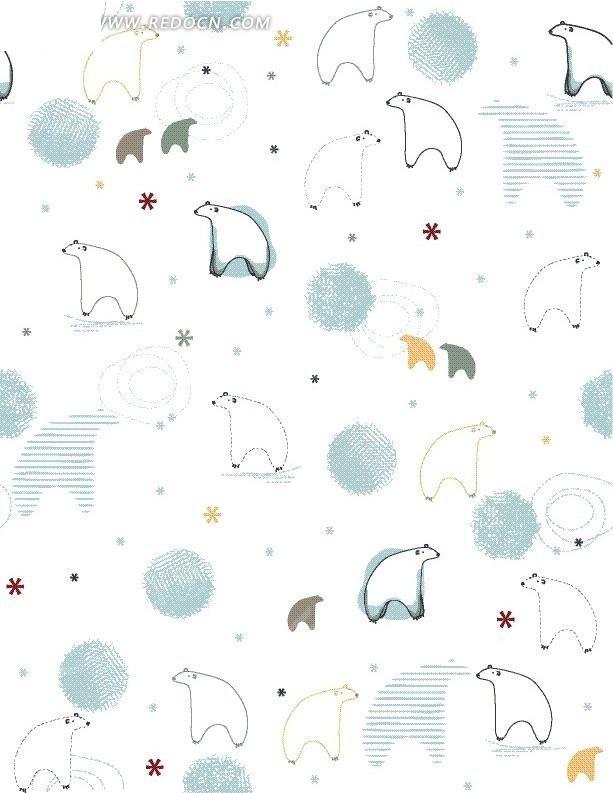 儿童漫画北极熊勾勒图案矢量图_花纹花边