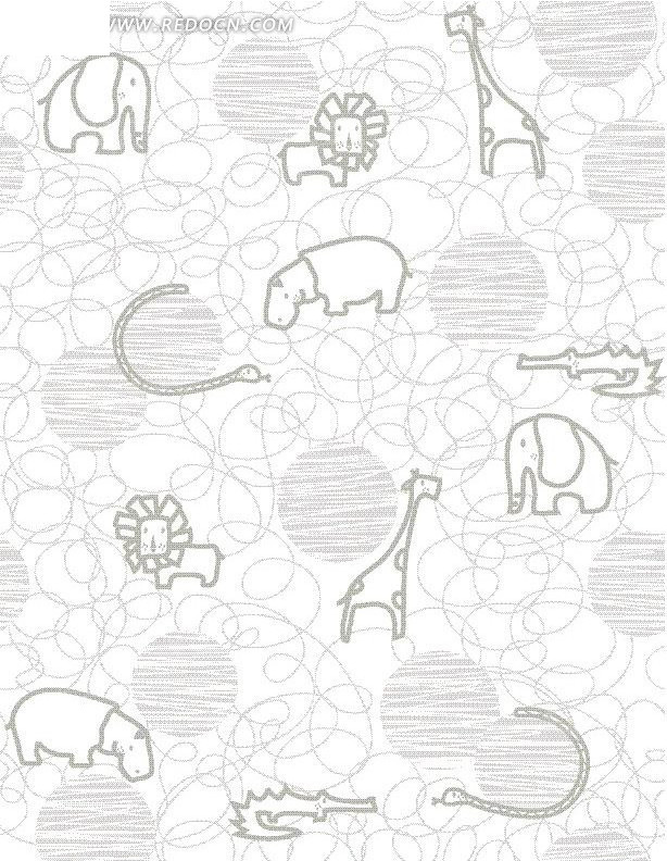 手绘笔画线条及各种动物底纹图案