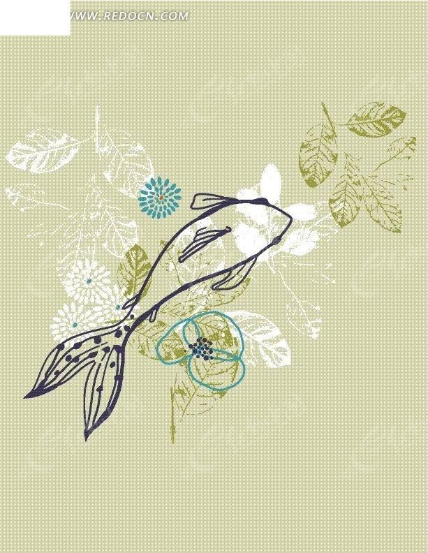 植物素材 手绘插画文件 叶子 花朵花卉 鱼儿线稿 花纹 花纹素材 花边