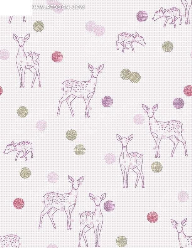 手绘浅紫色梅花鹿与彩色波点底纹图案