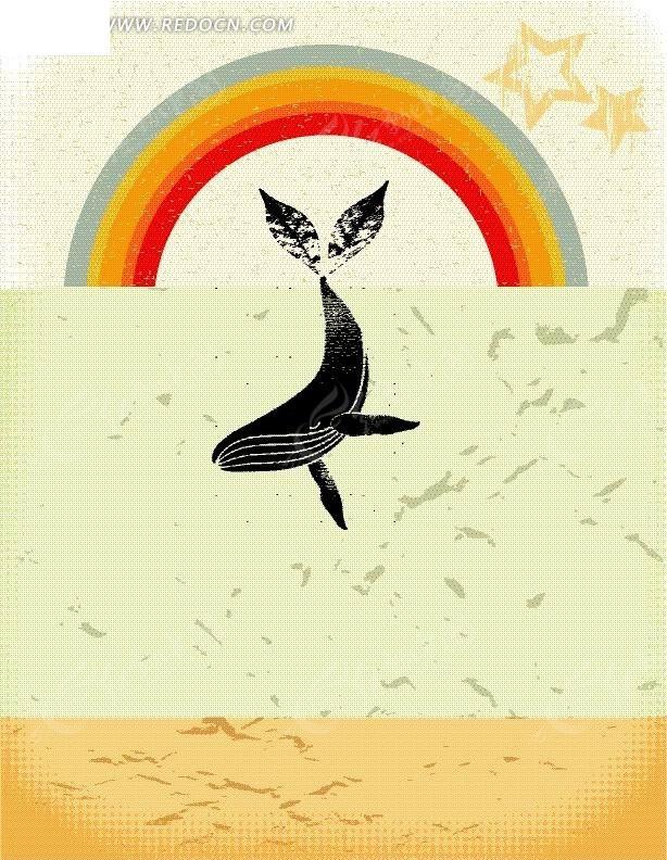 手绘彩虹及鲸鱼底图