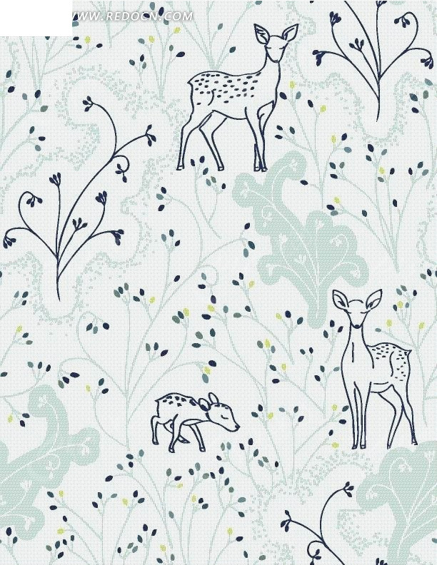 手绘花藤叶子及梅花鹿蓝色底纹图案