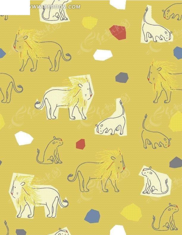 手绘色块及狮子底纹图案