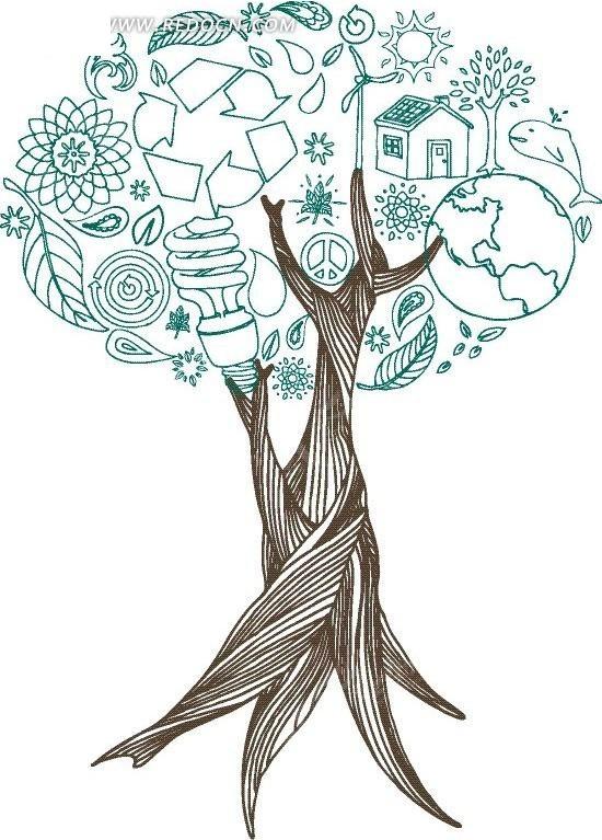 成的树木矢量素材