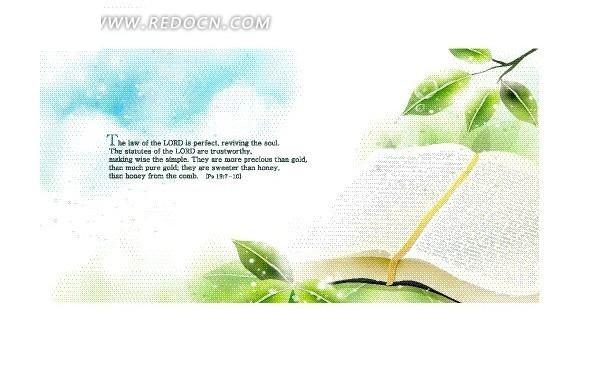 手绘白色云层下绿叶和书本