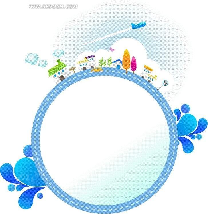 蓝色卡通文本框背景矢量图EPS免费下载 花纹花边素材
