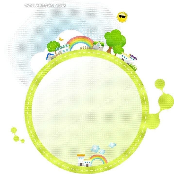 绿色卡通文本框背景矢量图