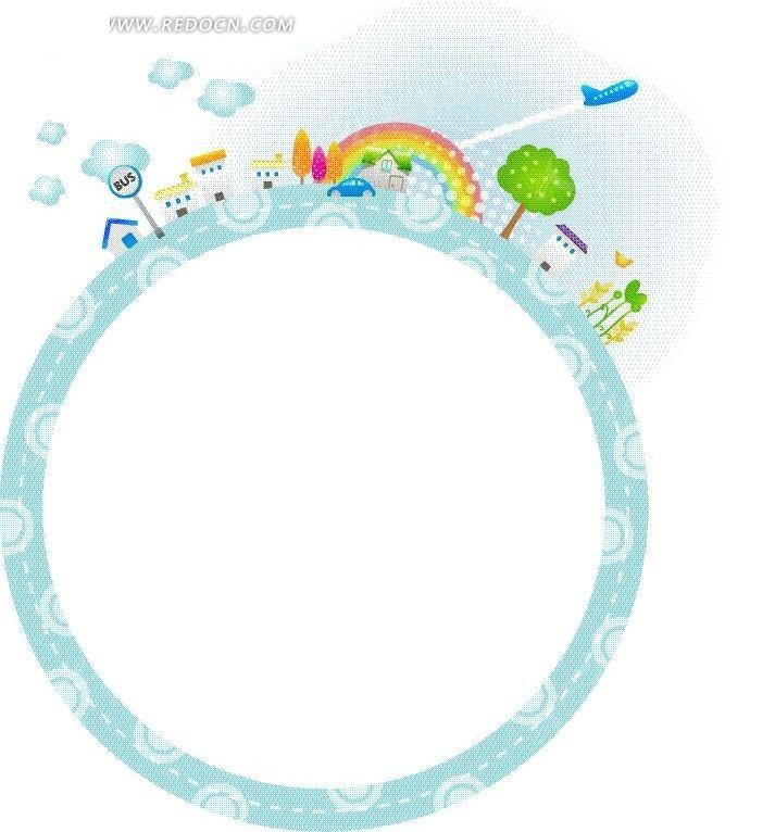 免费素材 矢量素材 花纹边框 花纹花边 蓝色卡通文本框背景