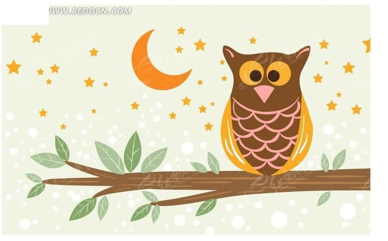 免费素材 矢量素材 花纹边框 花纹花边 星星月亮背景上的猫头鹰  请您图片