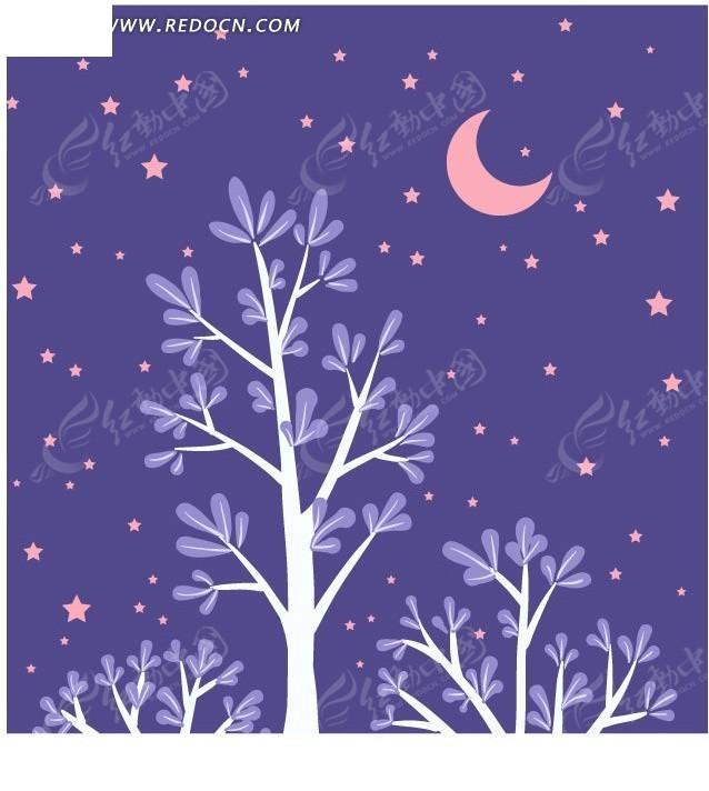 星空下的卡通树矢量图ai免费下载_花纹花边素材图片