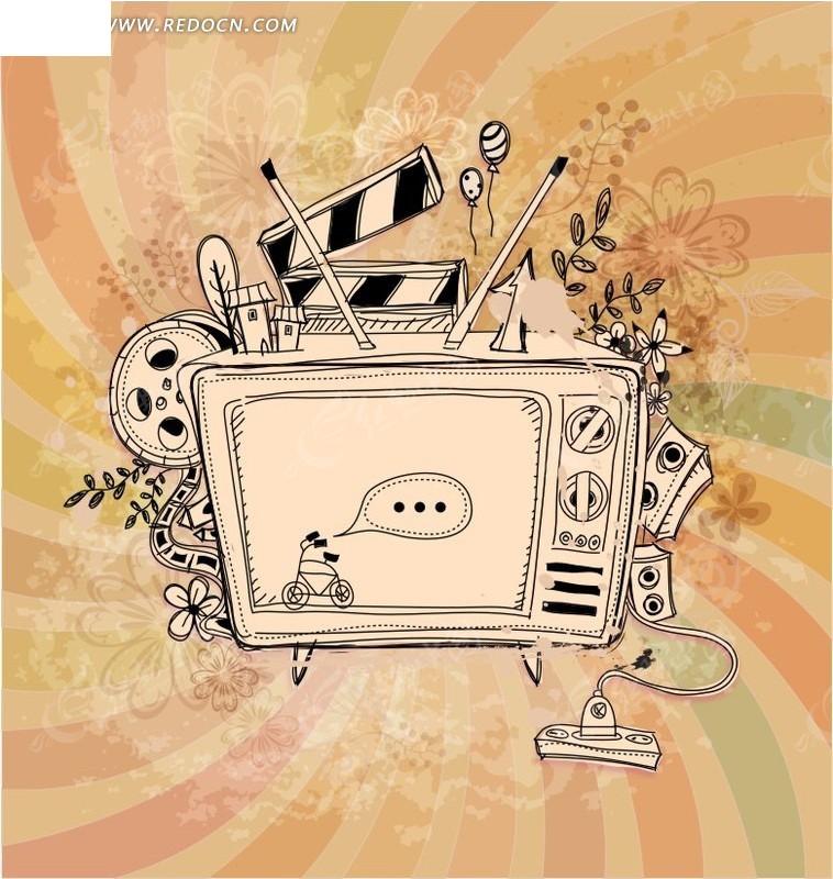 手绘电视机创意图案