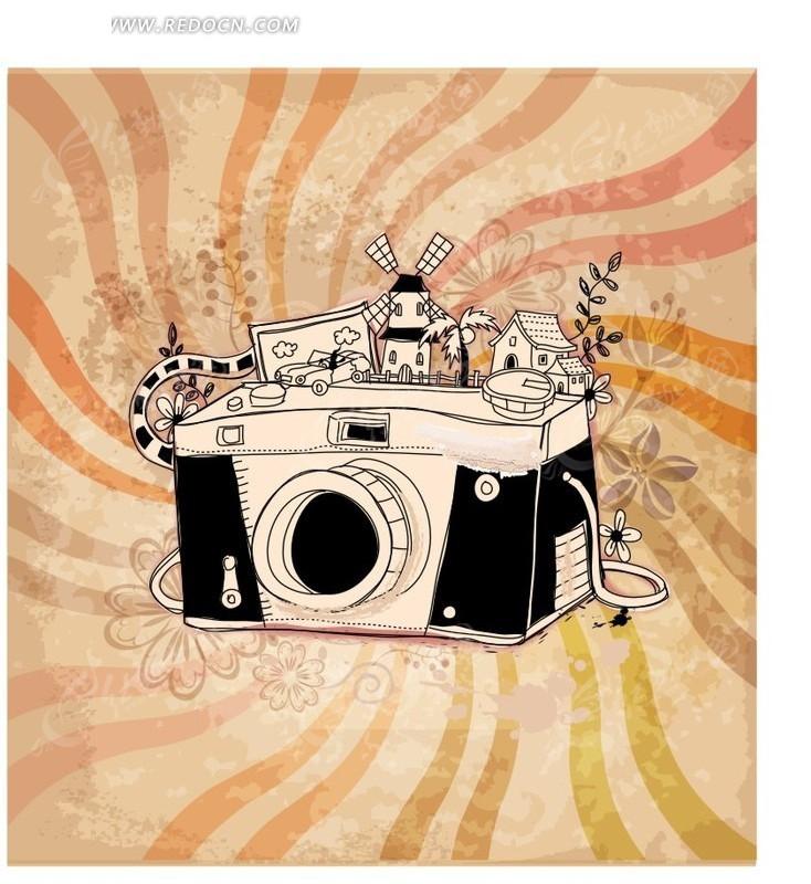 手绘相机创意图案ai免费下载_花纹花边素材