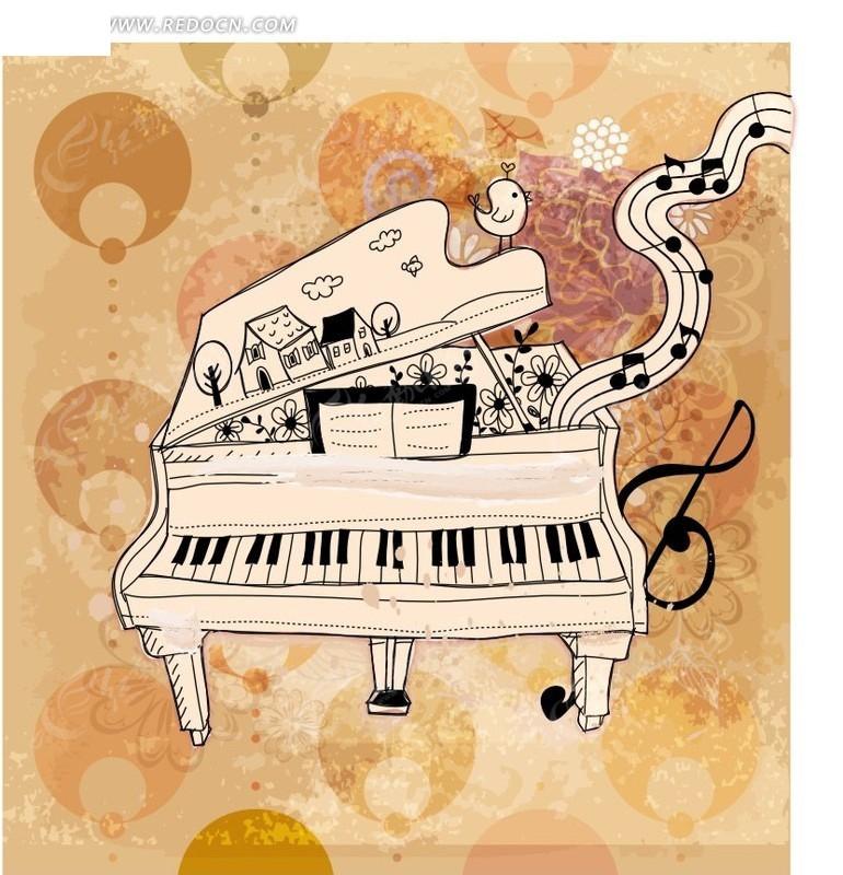 手绘钢琴创意图案