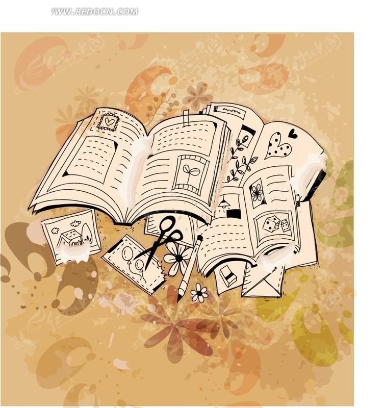 免费素材 矢量素材 花纹边框 花纹花边 手绘书本卡片创意图案  请您图片