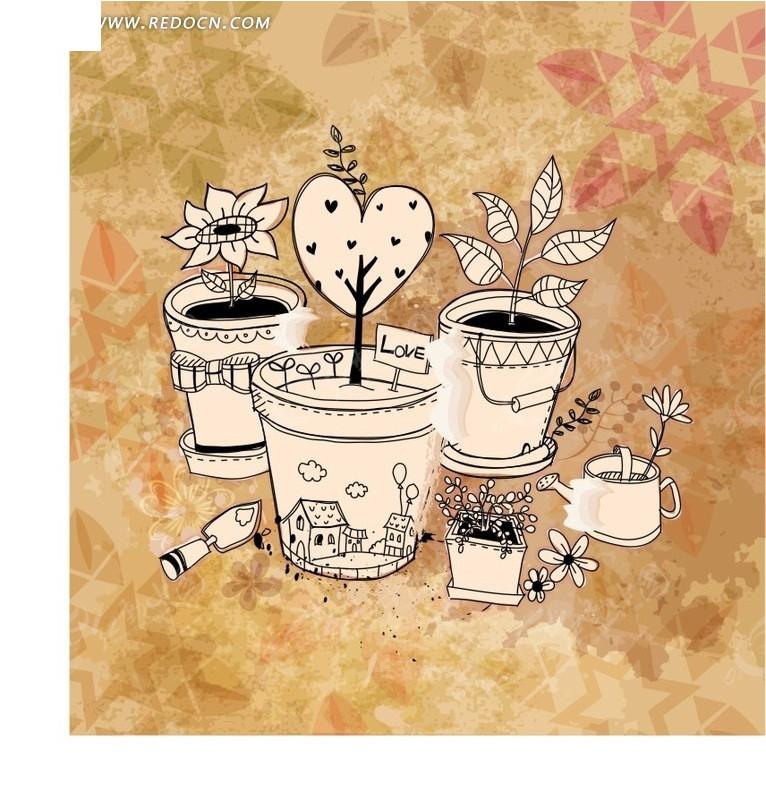 手绘盆栽植物创意图案矢量图