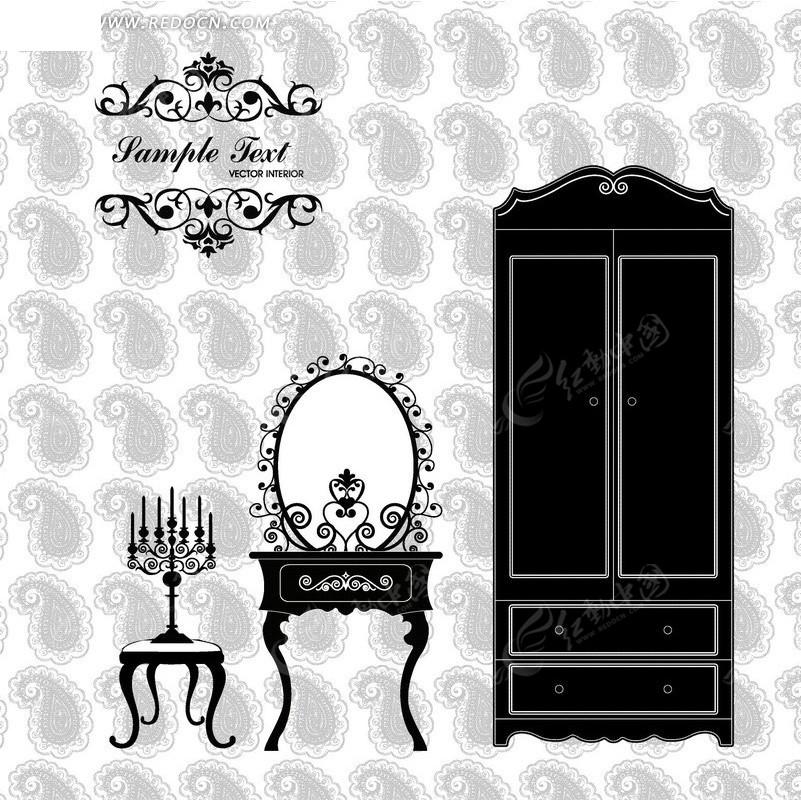 免费素材 矢量素材 花纹边框 花纹花边 > 灰色图案背景上的衣柜梳妆镜