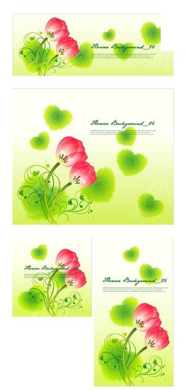 手绘绿色叶子藤蔓红玫瑰