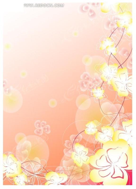 植物素材 手绘花朵花瓣插画文件 动感曲线 花纹 花纹素材 花边 花边