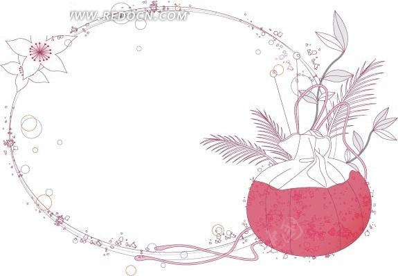 边框 圆形 环形 线条 花束 植物 花朵 矢量素材 花边 背景图片 花纹
