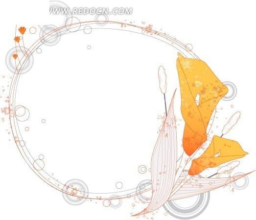 淡雅手绘玉兰花边框矢量素材