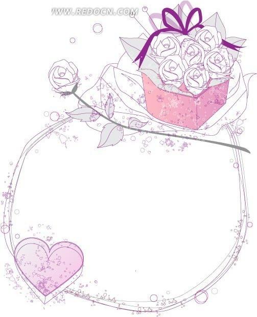 玫瑰花边框 玫瑰花简笔画花藤边框素材