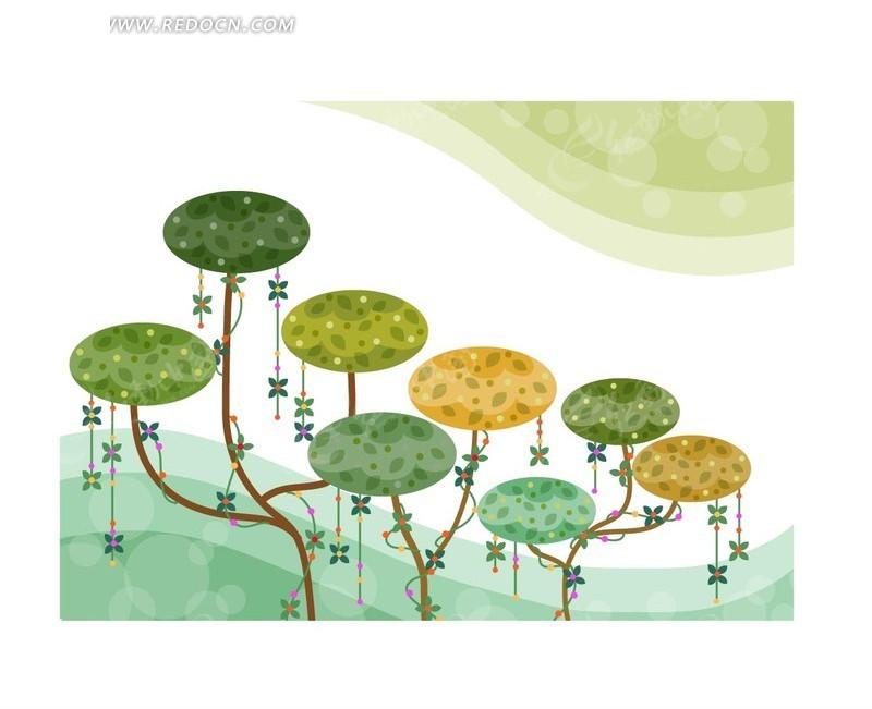 手绘卡通树木插画 ai_花纹花边_红动手机版
