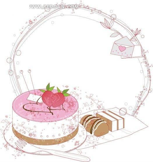 手绘线条线圈的蛋糕点心卡片信纸矢量图图片