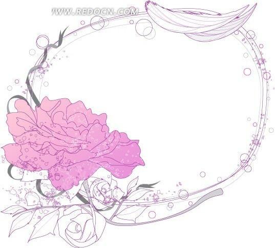 淡雅手绘牡丹花环圆边框矢量素材矢量图