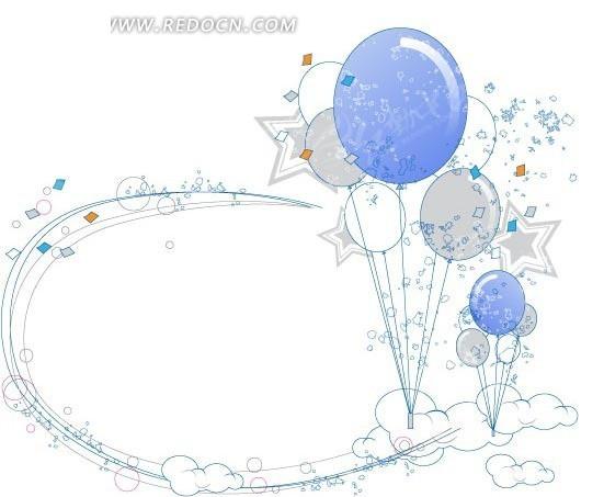 免费素材 矢量素材 花纹边框 花纹花边 手绘线条氢气球及星星