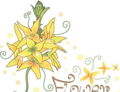 淡雅手绘黄色花朵矢量素材