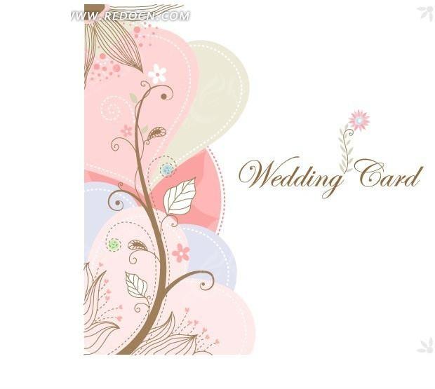 婚礼贺卡卡通树和爱心背景图案