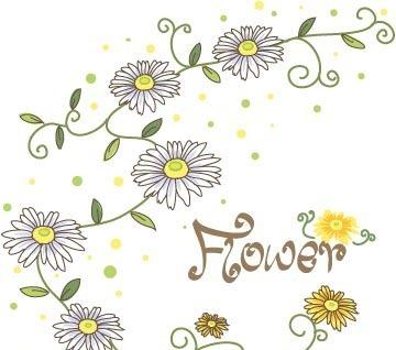 手绘藤蔓上白色小野菊矢量图_花纹花边