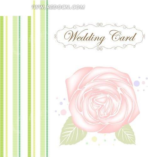 手绘条纹及粉红玫瑰贺卡矢量图_花纹花边