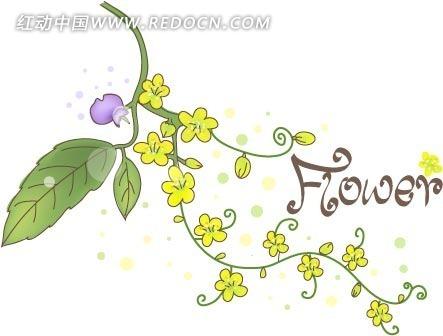 免费素材 矢量素材 花纹边框 花纹花边 淡雅手绘黄色小花矢量素材  请