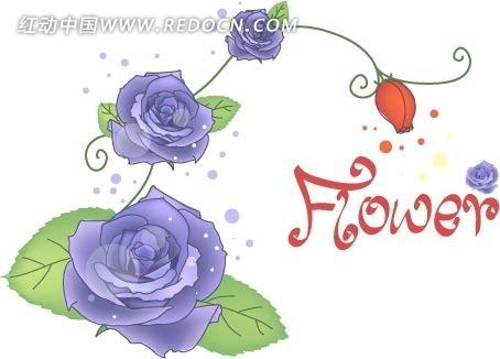 手绘线条绿叶紫玫瑰
