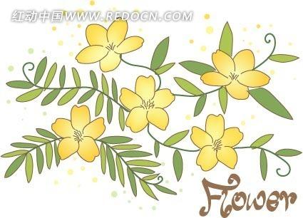 手绘绿色藤蔓叶子及黄色花朵