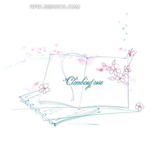 矢量手绘书本花朵线稿插画