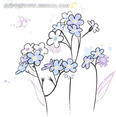 白色背景 植物素材 手绘插画文件 矢量紫色花朵 花卉  花纹 花纹素材